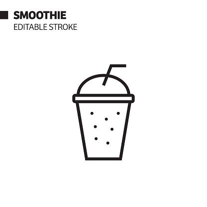 Smoothie Line Icon, Outline Vector Symbol Illustration. Pixel Perfect, Editable Stroke.
