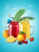 Smoothie mason jars with fruits and berries poster. Vector summer illustration with two glasses of juice or lemonade, orange, pineapple, mango, blueberry, cherry, strawberry, palm leaves and umbrella