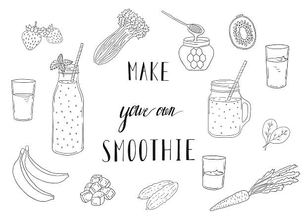 ilustrações, clipart, desenhos animados e ícones de smoothie recipe with a bottle and ingredients. detox, healthy eating. - fruit salad