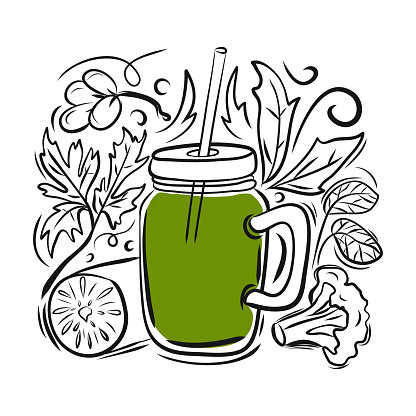 Smoothie Related Cartoon Doodle Illustration. Hand Drawn Vector