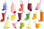 Appetizing healthy colorful fruit smoothies icons collection with banana watermelon orange blueberry kiwi and lemon isolated icons illustration