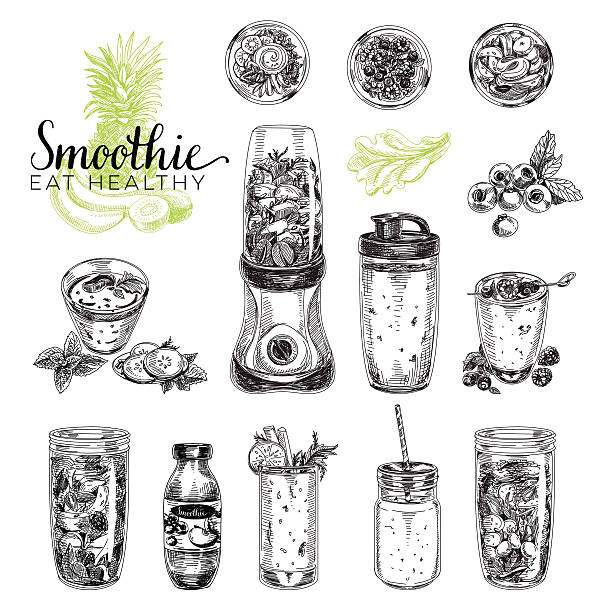 bildbanksillustrationer, clip art samt tecknat material och ikoner med smoothie vector set. healthy foods illustrations in sketch style - smoothie