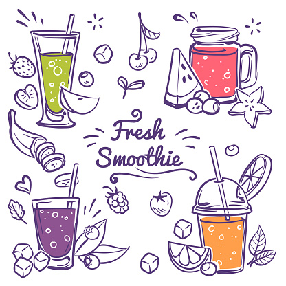 Smoothies. Detox diet drinks in different bottle, cup with fresh fruit and berries strawberry, cherry and banana smoothie sketch vector set
