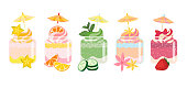 Smoothies  summer desserts set, colorful healthy and joyful with umbrellas toppers. Sweet, vegetables, green, berries and citrus taste. Vector flat illustration on white isolated horizontal background