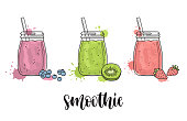 Set of smoothie jars with blueberries, strawberries and kiwi. Colorful vector illustration with paint splashes