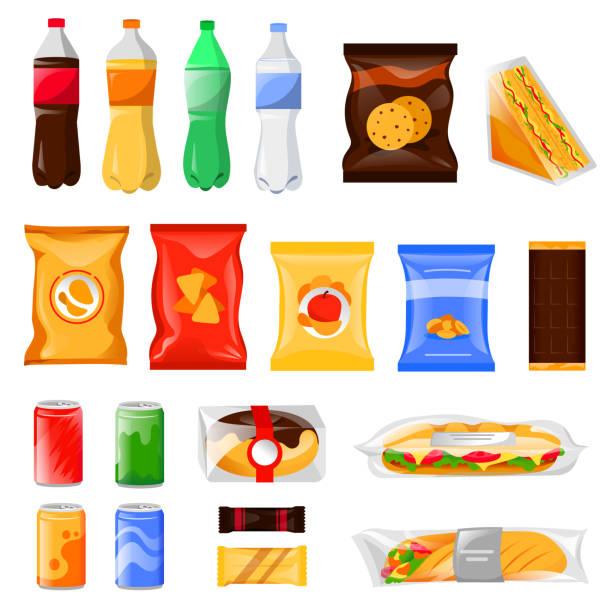 小吃和速食產品套餐。動畫片膳食和飲料向量例證, 查出在白色背景。 - 不健康飲食 幅插畫檔、美工圖案、卡通及圖標