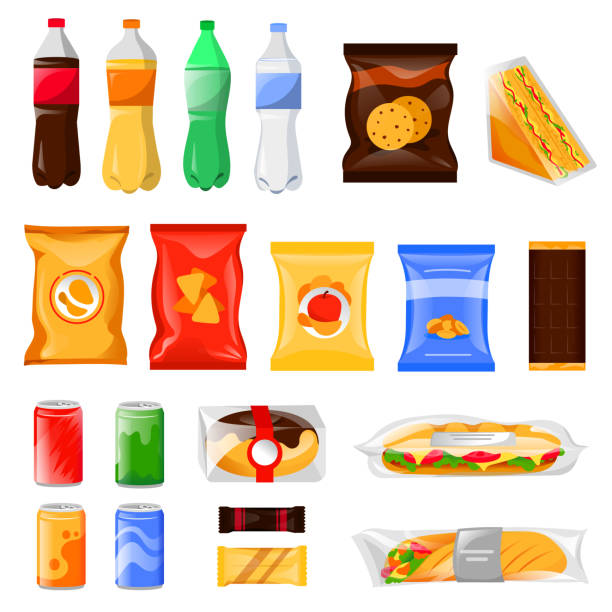 snack and fast food products set. cartoon meal and drinks vector illustration, isolated on white background. - torba stock illustrations