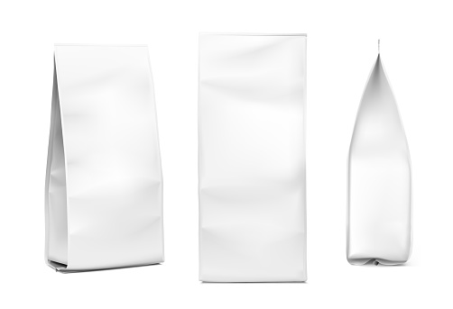 Snack bag mockup on white background. Fron, side and perspective views.