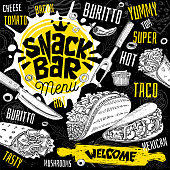 Snack bar cafe restaurant menu. Mexican, Taco, burrito fast food poster cards for bar cafe.