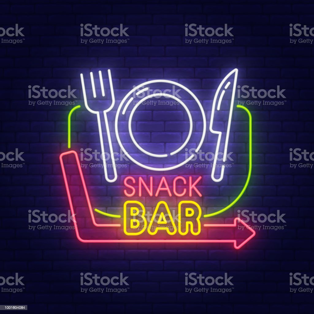 Snack Bar Neon Sign Bright Signboard Light Banner Cafe And