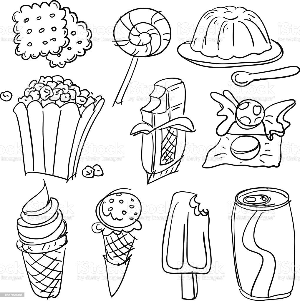 Snack collection in Black and White vector art illustration