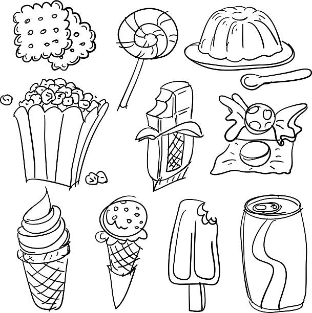 Snack collection in Black and White Snack collection in Black and White jello stock illustrations