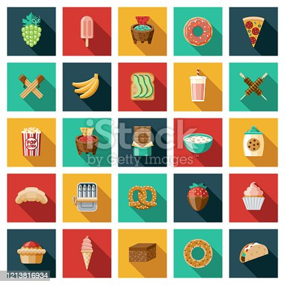 A set of square flat design icons with a long side shadow. File is built in the CMYK color space for optimal printing. Color swatches are global so it's easy to edit and change the colors.