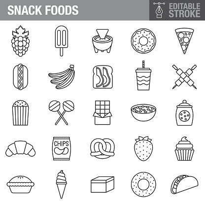 Snack Foods Stroke Icon Set