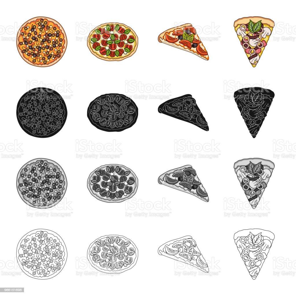 Snack, Zutaten, Ration und andere Web-Symbol im Cartoon-Stil. Pizza essen, behandelt, Symbole im Set Sammlung. - Lizenzfrei Café Vektorgrafik