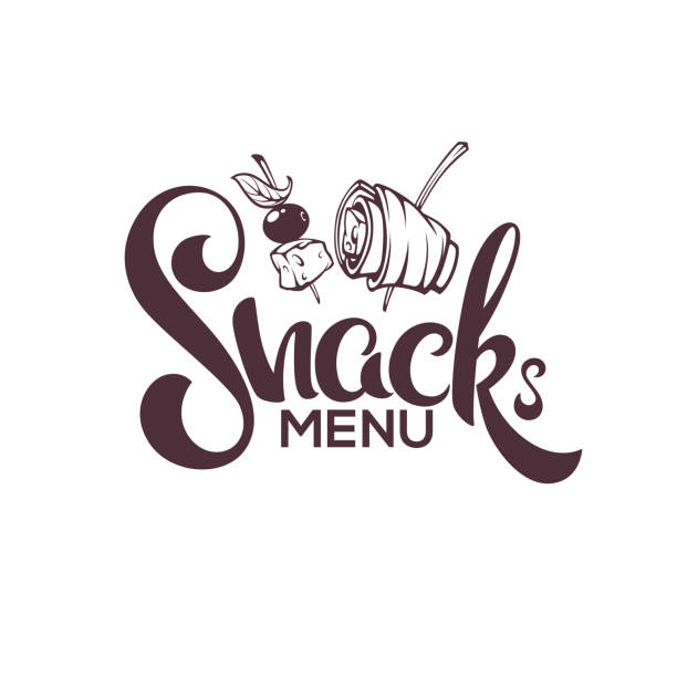 Snack Menu, Vector Image of Hand Drawn Appetizers and Lettering Composition For Your Restaurant Menu vector art illustration