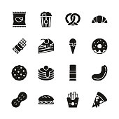 istock Snack Or Junk Food Icons Black & White Set 1179523537