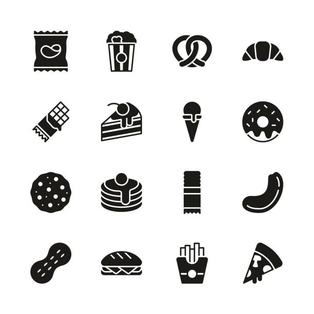 Snack Or Junk Food Icons Black & White Set This image is a vector illustration and can be scaled to any size without loss of resolution. snack stock illustrations
