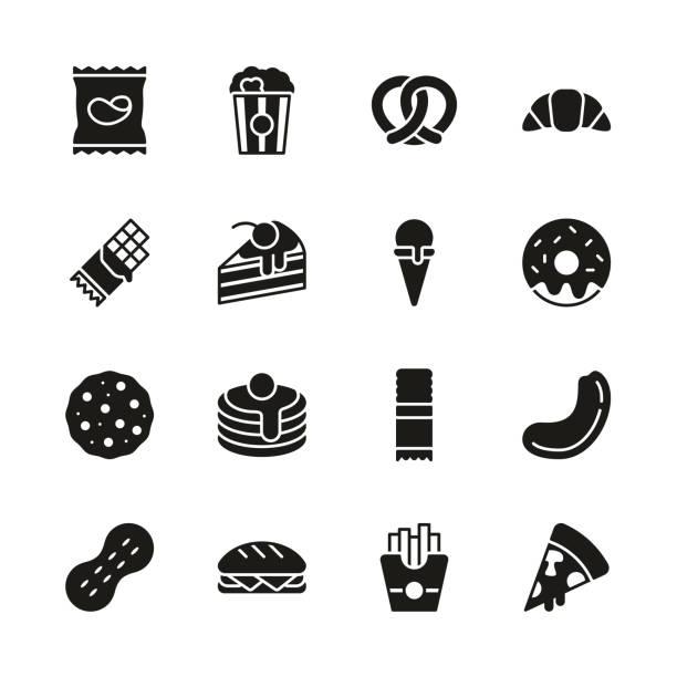 illustrazioni stock, clip art, cartoni animati e icone di tendenza di snack or junk food icons black & white set - spuntino