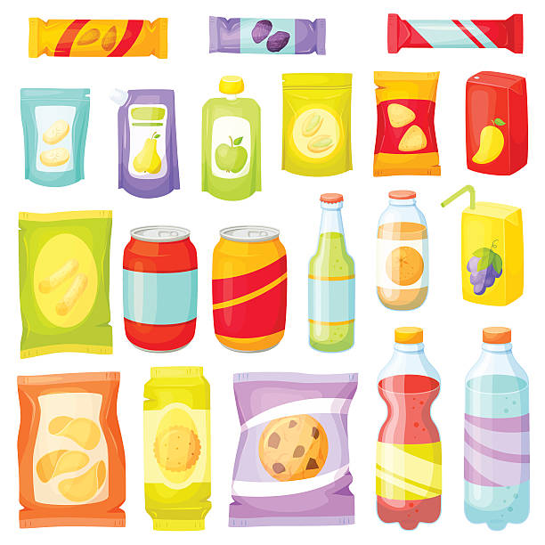 illustrazioni stock, clip art, cartoni animati e icone di tendenza di spuntino set confezione - bottle soft drink