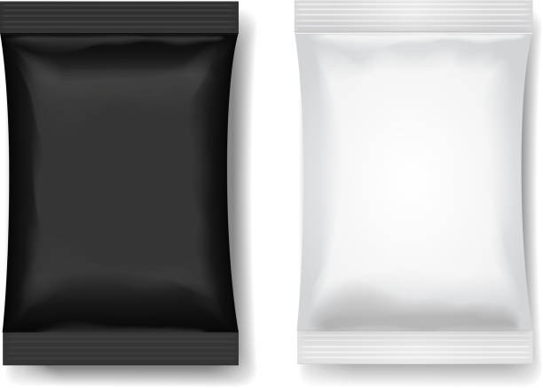 Snack package black white, Blank food packaging or Chocolate or wafer 3 d realistic vector illustration Snack package black white, Blank food packaging for Chocolate or wafer 3 d realistic vector illustration. mint candy stock illustrations