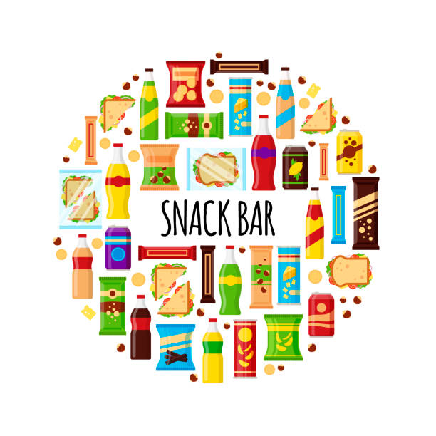 snack-produkt im kreis. fast-food-imbisse, getränke, nüsse, chips, cracker, saft, sandwich für snack-bar isoliert auf weißem hintergrund. flache illustration in vektor - ungesunde ernährung stock-grafiken, -clipart, -cartoons und -symbole