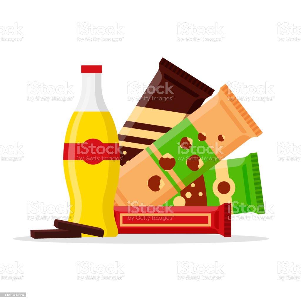 Jogo do produto do petisco, petiscos do fast food, bebidas, porcas, suco, chocolate isolado no fundo branco. Ilustração Lisa no vetor - ilustração de arte em vetor