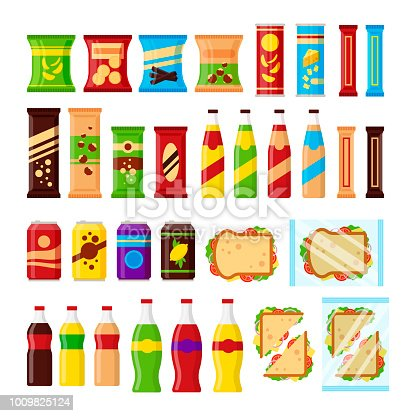 Snack product set for vending machine. Fast food snacks, drinks, nuts, chips, cracker, juice, sandwich for vendor machine bar isolated on white background. Flat illustration in vector.