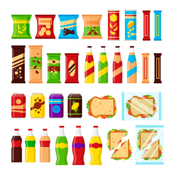 snack product set for vending machine. fast food snacks, drinks, nuts, chips, cracker, juice, sandwich for vendor machine bar isolated on white background. flat illustration in vector - empty vending machine stock illustrations