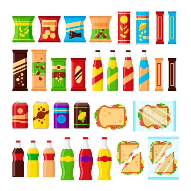 bildbanksillustrationer, clip art samt tecknat material och ikoner med mellanmål produktuppsättning för varuautomat. snabbmat snacks, drycker, nötter, chips, cracker, juice, smörgås för leverantör maskin bar isolerade på vit bakgrund. flat illustration i vektorgrafik - potatischips