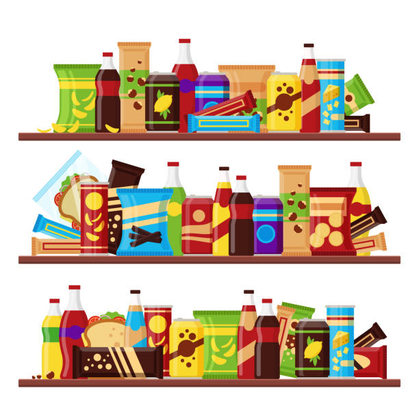 snack product set on the shelves, colorful fast food snacks drinks nuts chips cracker juice sandwich chocolate isolated on white backgroun - empty vending machine stock illustrations