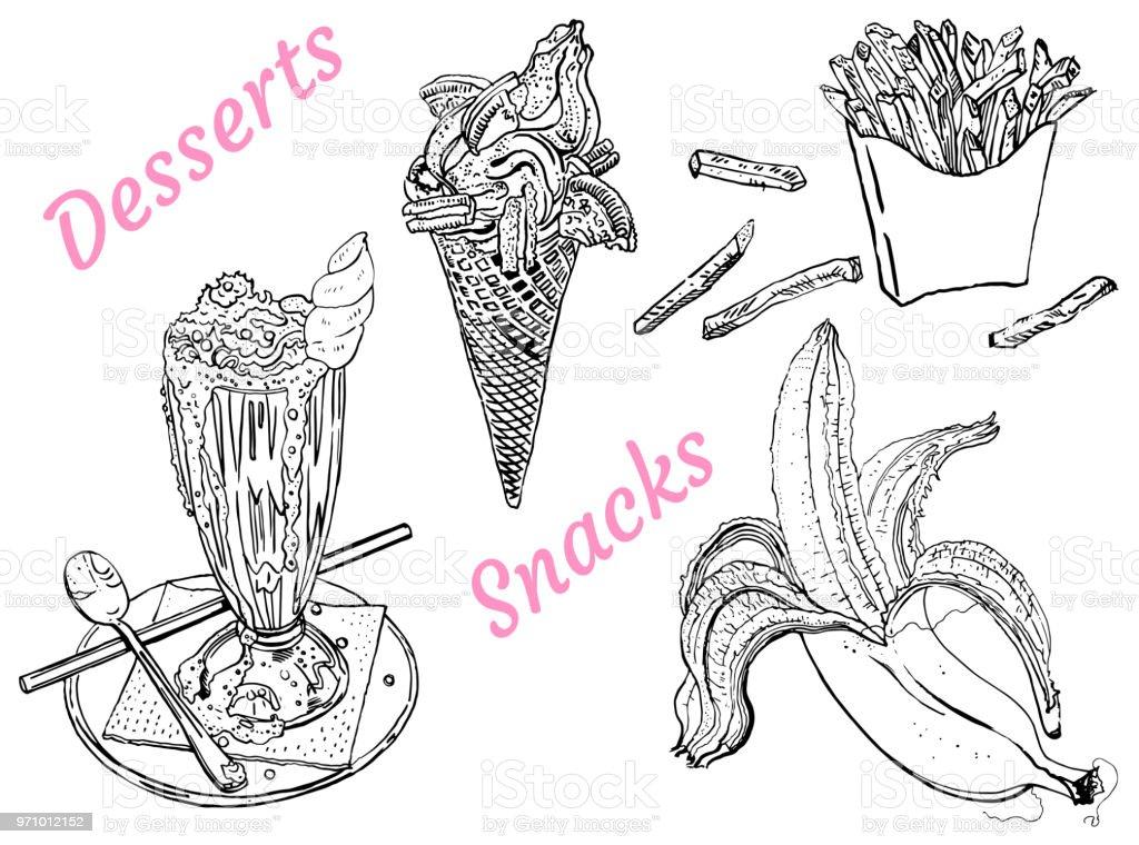 Snacks Und Desserts Eis Banane Milchshake Pommes Frites