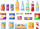 Snacks and drinks. Merchandising products fast food plastic containers water soda biscuits crisps bar chocolate vector flat pictures