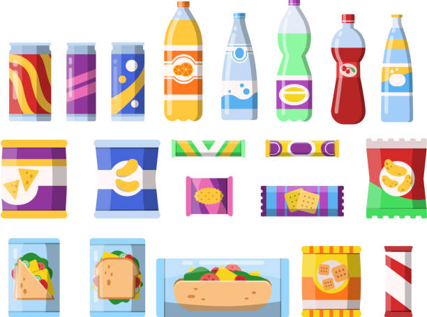 Snacks and drinks. Merchandising products fast food plastic containers water soda biscuits crisps bar chocolate vector flat pictures Snacks and drinks. Merchandising products fast food plastic containers water soda biscuits crisps bar chocolate vector flat pictures. Illustration of food sandwich, bottle beverage and snack snack stock illustrations