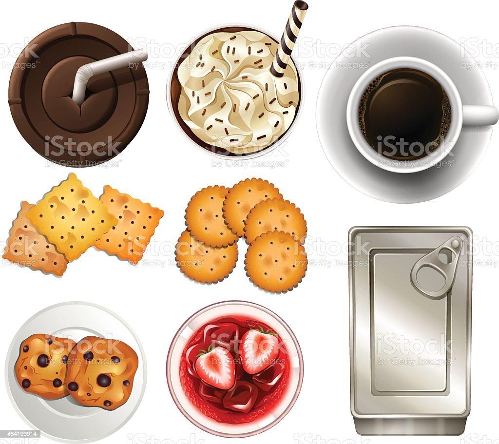 Snacks and drinks vector art illustration
