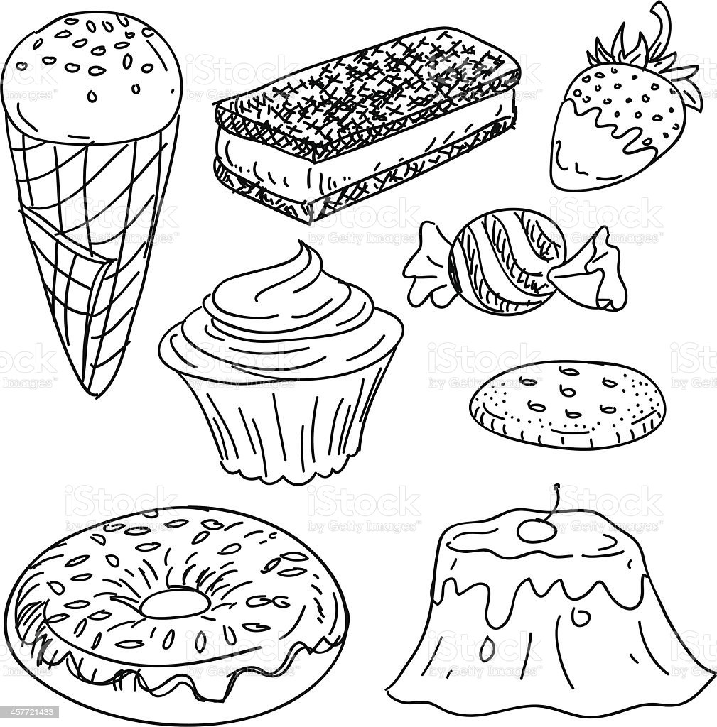 Snacks collection in black and white vector art illustration