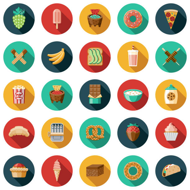 illustrazioni stock, clip art, cartoni animati e icone di tendenza di snacks icon set - cioccolata