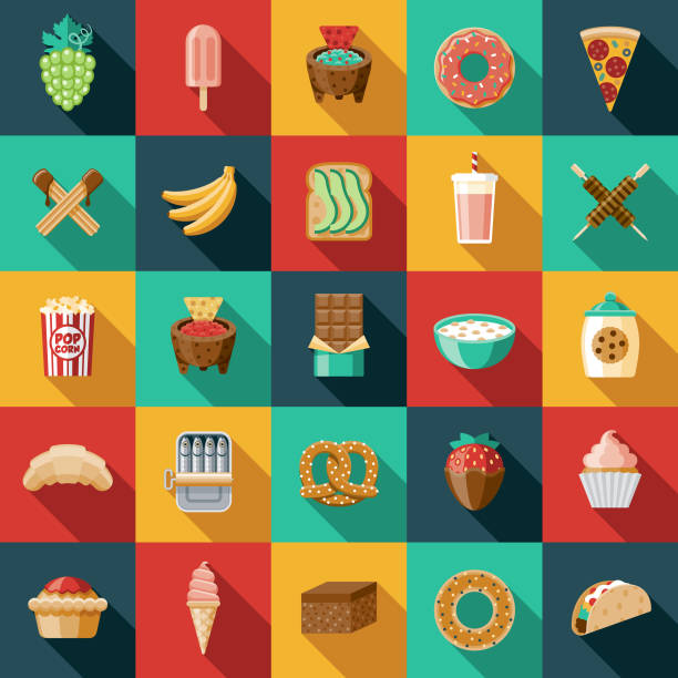 Snacks Icon Set A set of icons. File is built in the CMYK color space for optimal printing. Color swatches are global so it's easy to edit and change the colors. avocado clipart stock illustrations
