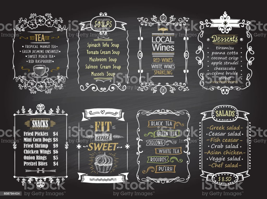 Snacks, salads, desserts, soups, lokal wines and tea chalkboard menu list designs set vector art illustration