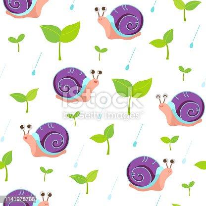 Snail,animal,nature,sprout,rain,drop,design,pattern,seamless