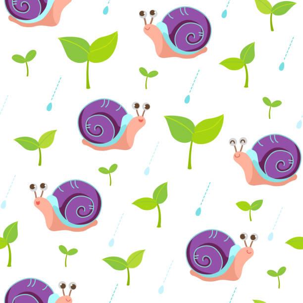 stockillustraties, clipart, cartoons en iconen met slak en spruit op regenachtige dag patroon - spruitjes