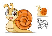 Snail cartoon character mascot design, including flat and line art design, isolated on white background, vector clip art illustration.