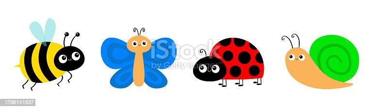 Snail cochlea, bee bumblebee, butterfly, lady bug ladybird flying insect icon set. Cute cartoon kawaii funny baby character. Ladybug. Happy Valentines Day. Flat design. White background. Vector
