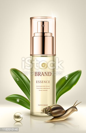 Snail extract cosmetic ads. Cosmetic packaging design. Vector illustration