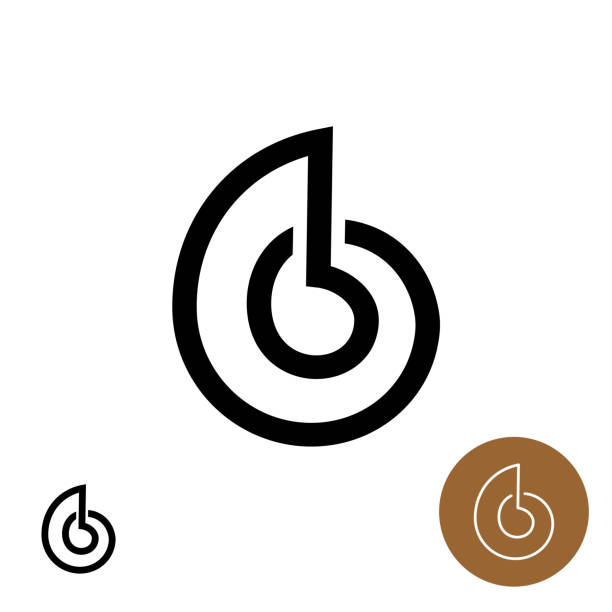 snail house logo. snail shell line style elegant icon. - сетка фибоначчи stock illustrations