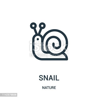 snail icon vector from nature collection. Thin line snail outline icon vector illustration. Linear symbol for use on web and mobile apps, logo, print media.