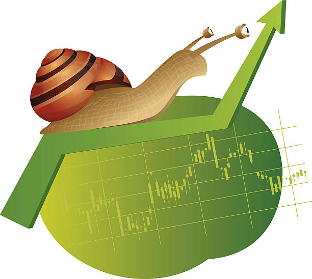 Snail is on a rising chart Snail is crawling on a rising green chart slow motion stock illustrations
