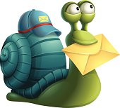 A snail cartoon delivering mail.