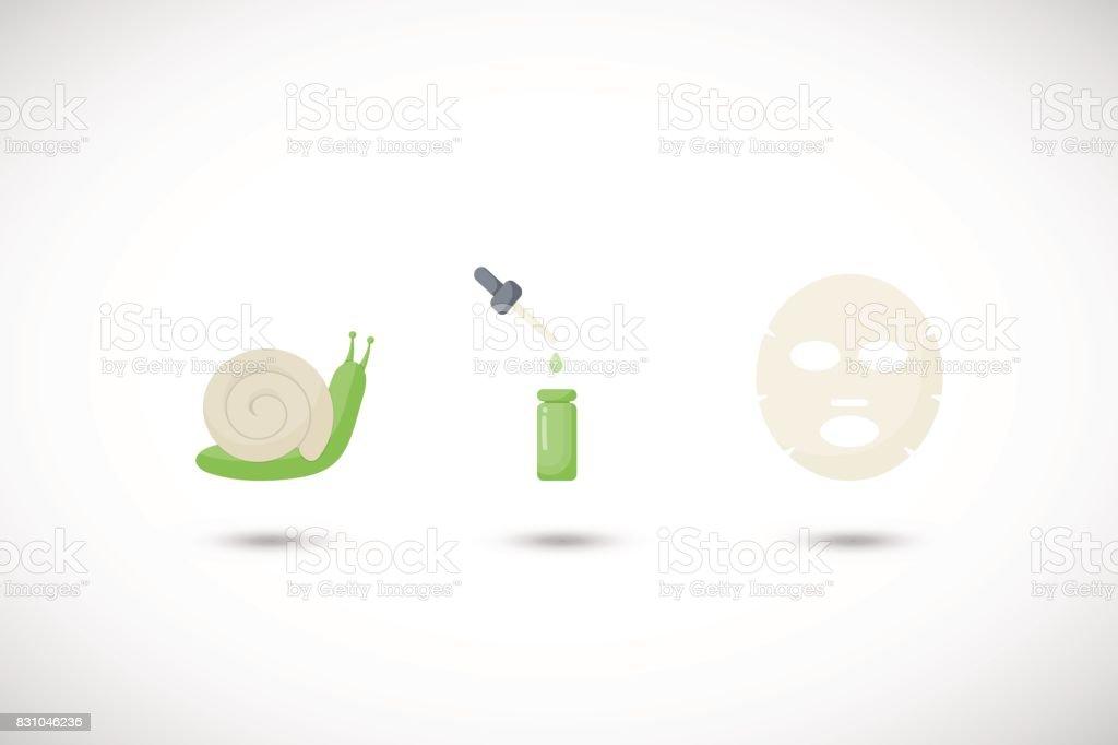 Snail mucus facial mask vector flat icons set vector art illustration