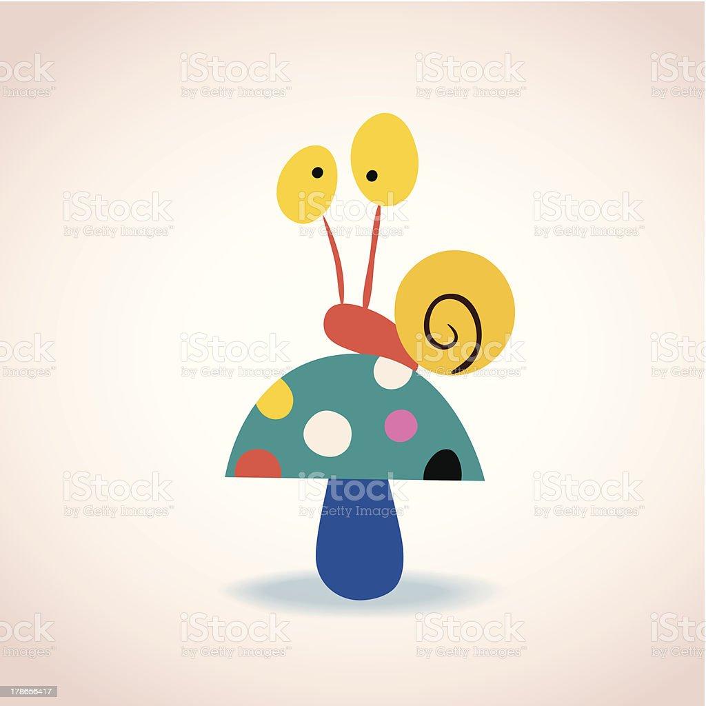 snail on mushroom royalty-free stock vector art